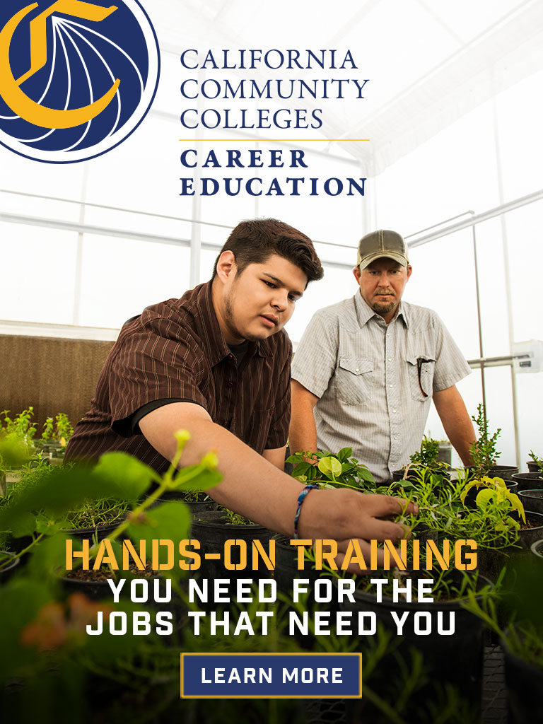 CTE 768 x 1024 STATIC banner, student showing teacher health of plants