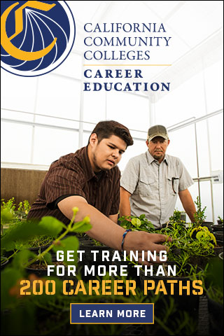 CTE 320 x 480 STATIC, student checking health of plant, 320 by 50 size banner